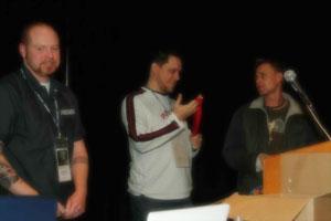 "Receiving the ""IronFlash Winner"" Award with teammate Craig Swann."
